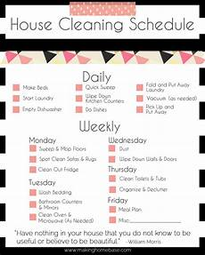 Cleaning House Schedule Chart A Basic Cleaning Schedule Checklist Printable