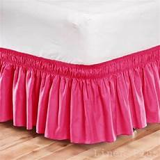 elastic bed skirt dust ruffle easy fit wrap around pink