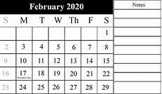 Monthly Calendar Template 2020 Word Free February 2020 Calendar Printable Templates Pdf