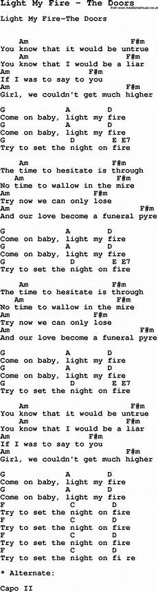 Light On Chords Song Light My Fire By The Doors With Lyrics For Vocal