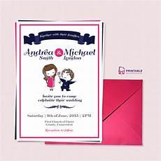 Cute Invitation Templates Cute Couple Illustration Wedding Invitation Template