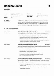 Resume Cv Sample 12x Free Electrician Resume Template