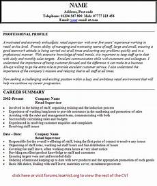 Sample Retail Cv Retail Supervisor Cv Example Learnist Org