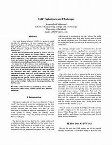 Reserach Paper Research Paper On Voip Technology
