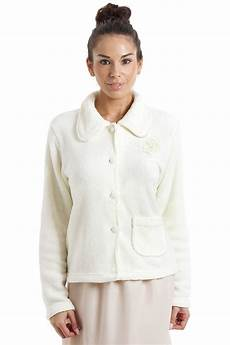 womens luxury ivory button up fleece bed jacket