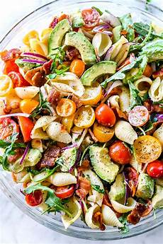 Salad With Pasta Blt Pasta Salad With Avocado Recipe Foodiecrush