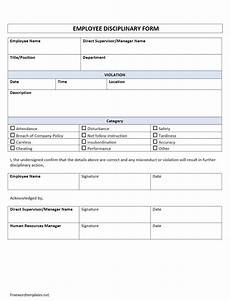 Employee Disciplinary Action Form Word Employee Disciplinary Form