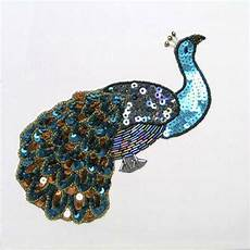 peacock applique sequin beaded large peacock applique 2427 l ebay