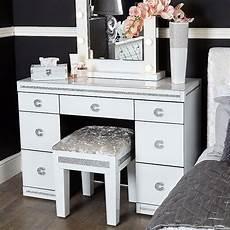 crystalline white glass mirrored 7 drawer bedroom dressing