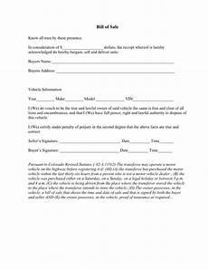 Automotive Bill Of Sale Colorado Free Colorado Vehicle Bill Of Sale Form Download Pdf Word