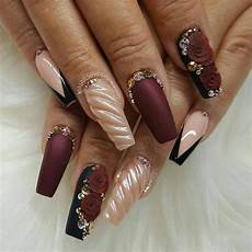 Burgundy And Black Nail Designs 50 Burgundy Nails Designs Ideas Maroon Acrylic Nails
