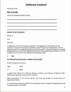 Simple Daycare Contract Child Care Contract Template For Ms Word Document Hub