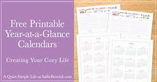 2020 Year At A Glance Calendar Free Year At A Glance Calendar Printables 2019 And 2020