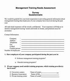 Training Needs Questionnaire Template Sample Needs Assessment Survey Template 8 Free