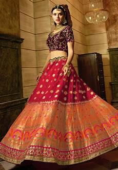 buy red peach and purple indian wedding banarasi silk