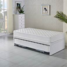 single fabric bed base w trundle 2 mattresses buy