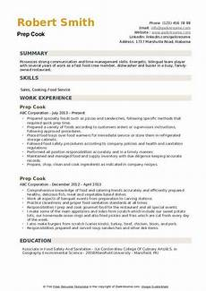 Example Of Cook Resume Prep Cook Resume Samples Qwikresume