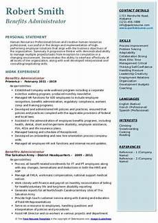 Employee Resume Benefits Administrator Resume Samples Qwikresume