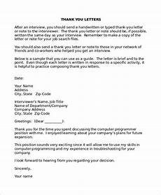Template Thank You Letter Interview 6 Thank You Letter After Interview Templates Free