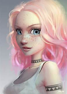 hair art artstation light pink cassio yoshiyaki