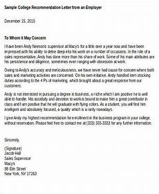 Recommendation Letter For Student From Employer 8 Recommendation Letters For College Samples Examples