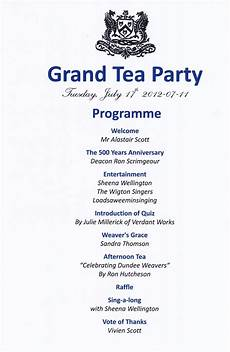 Programme Of Grand Tea Party In Jute Weaving At Dundee