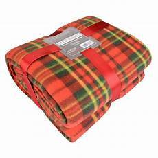 soft warm single tartan check sofa throw bed fleece