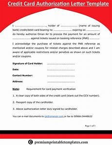 Credit Card Authorization Letter Template A Credit Card Authorization Letter Helps A Card Holder To