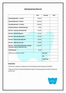 House Cleaners Prices 8 Cleaning Price List Templates Free Word Pdf Excel