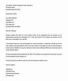 Examples Of Resignation Letters 2 Weeks Notice 34 Two Weeks Notice Letter Templates Pdf Google Docs