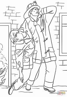 firefighter rescues from house coloring page