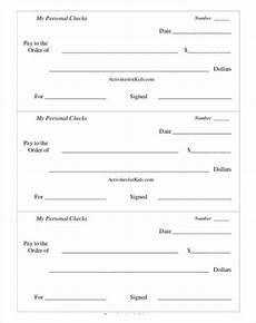 Pretend Cheque Printable Personel Play Checks Template Pdf Format