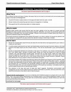 Status Report Formats Status Reports