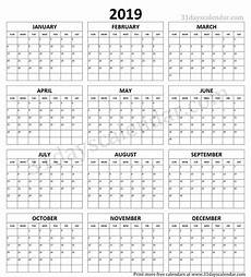 A Year Calendar Year Calendar 2019 Printable One Page Template Print