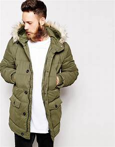 asos quilted parka jacket in green for lyst
