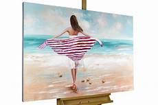 frauen am strand handgemaltes acrylbild mit frau am strand kunstloft