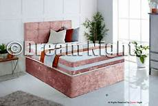 cubed crushed velvet divan bed set with headboard and