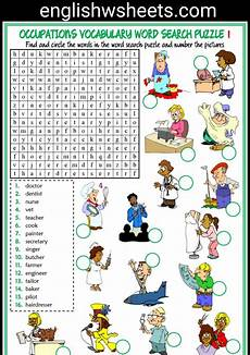 Daily Job Activities Jobs Esl Printable Word Search Puzzle Worksheets For Kids