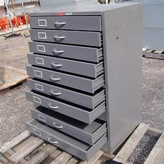 1 vintage grey metal flat file cabinet 11 drawers