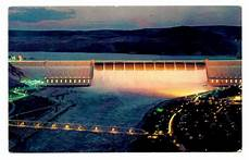 Grand Coulee Dam Light Show Grand Coulee Dam Washington Postcard Night Time Lights