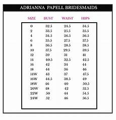 Size Chart Papell Papell Platinum Bridesmaid Dresses