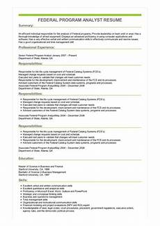 Sample Program Analyst Resume Sample Federal Program Analyst Resume