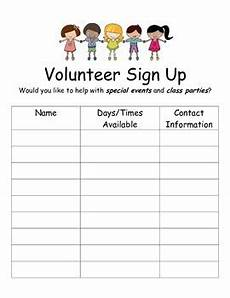 Volunteer Sign Up Sheet Volunteer Sign Up Sheets By Mitchell Teachers Pay