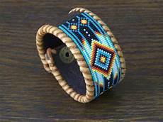 american beaded chevron leather bracelet ljgreywolf