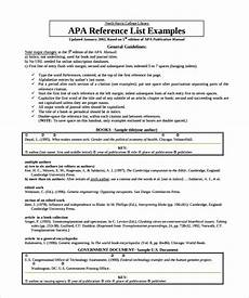Apa Style Lists Reference List Template 9 Download Documents In Pdf Word