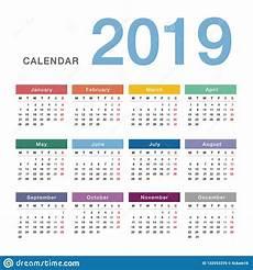 Year Calender Colorful Calendar Year 2019 Vector Design Template Simple