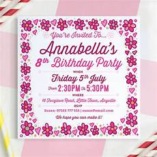 Birthday Invi Girls Personalised Birthday Invitations By A Is For