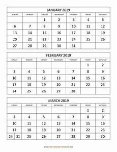 2020 Three Month Calendar Printable Monthly Calendar 2019 Free Calendar Template Com