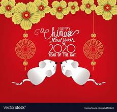 Happy New Year 2020 In Chinese Happy Chinese New Year 2020 Year Rat Style Vector Image