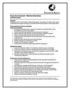 Senior Executive Assistant Job Description Executive Assistant And Membership Sales Ns